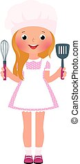 Smiling girl chef