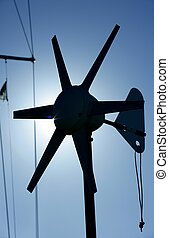 Boat electric air generator. Little wind mill, backlit blue...