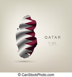 flag of Qatar as a country with a shadow