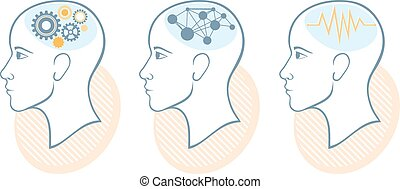 Silhouette of head, brain, and pulses