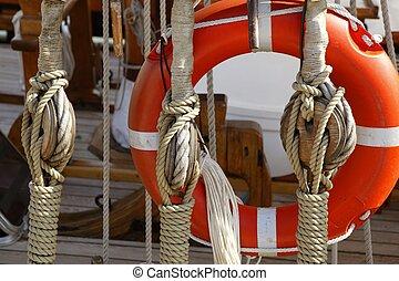 velero, de madera, marina, aparejos, sogas