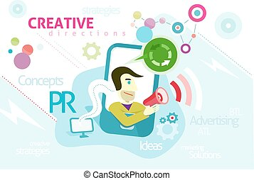Advertising concept with words PR creative strategies ideas...