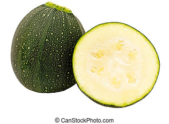 Courgettes - Small round Courgettes cut and whole ,isolated...