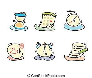 Time and date icons in cartoon design style Set of watch...
