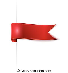red ribbon over white background, vector illustration