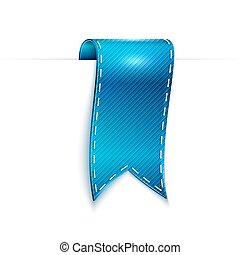blue ribbon over white background, vector illustration