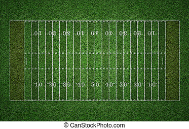 American Football Field on Grass - Green grass American...