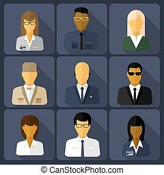 Business set of stylish avatars woman and man