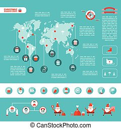 Christmas infographic elements for your business Modern flat design style