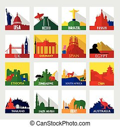 Popular sightseeing spots in the world icons - A vector...
