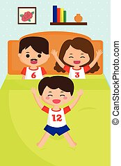 Jumping kid on the bed - A vector illustration of jumping...