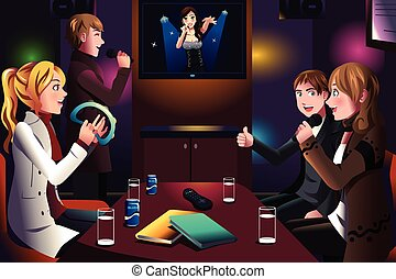People singing karaoke - A vector illustration of group of...