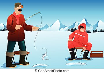 Men ice fishing - A vector illustration of happy men ice...