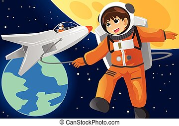 Kid imagining as an astronaut - A vector illustration of...