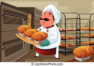 Baker in the kitchen - A vector illustration of happy baker...