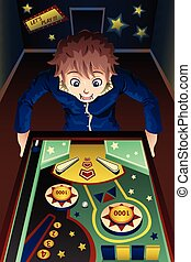 Man playing pinball machine - A vector illustration of man...