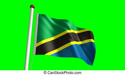 Tanzanian flag (seamless & green screen)
