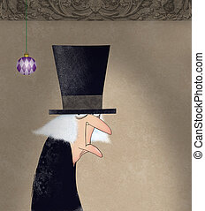 Funny Ink Drawing of Scrooge - Funny drawing of Ebenezer...