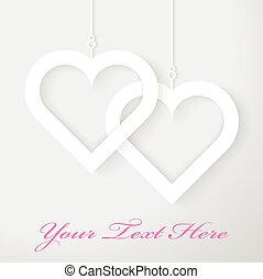 Two Hearts applique on gray background