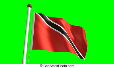 Trinidad and Tobago flag seamless green screen