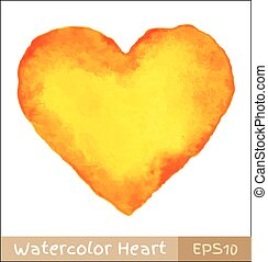 Yellow - Orange Watercolor Heart, vector illustration