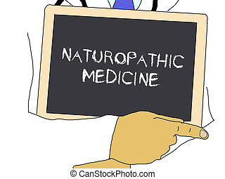 Illustration: Doctor shows information: naturopathic...