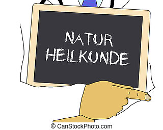 Illustration: Doctor shows information: naturopathy in...