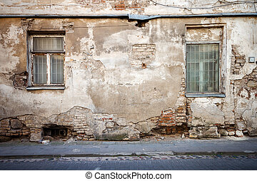 Aged street wall - Aged weathered street wall with some...