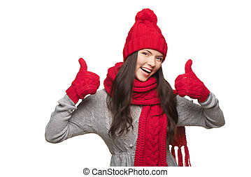 Winter woman thumb up - Closeup of happy woman wearing red...