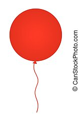 Circular Party Balloon - Abstract Retro Red Party Balloon...