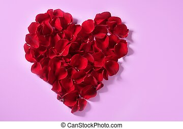 Red petals heart, valentines flowers metaphor