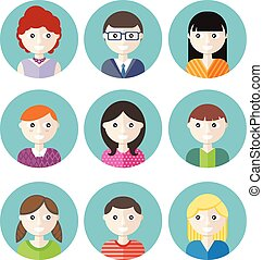 Color avatars teenagers boys and girls cartoon style set