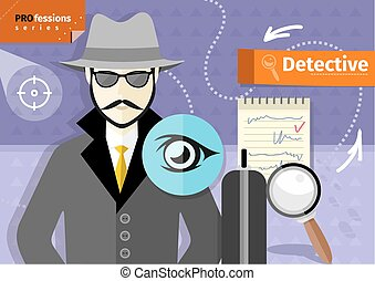 Male detective in hat, coat  and sunglasses