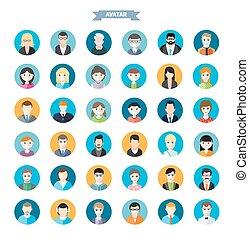 Conjunto, de, elegante, avatars, hombre, y, mujer, iconos,