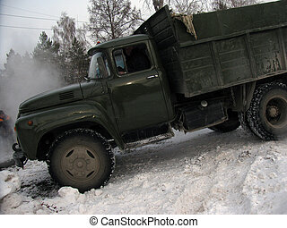 Old Russian green truck cold winter