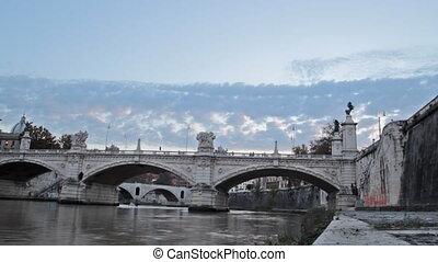 Vittorio Emanuele bridge, Rome - time lapse of the Vittorio...