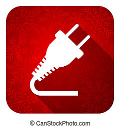 plug flat icon, christmas button, electricity sign