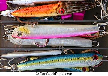 coloré, Peche, mer, fish, leurres, boîte