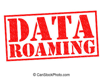 DATA ROAMING red Rubber Stamp over a white background.