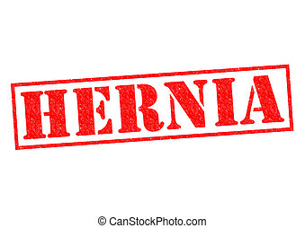 HERNIA red Rubber Stamp over a white background