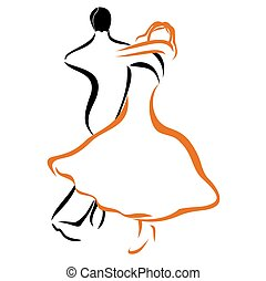 Dancing couple 1 - Vector illustration : Dancing couple on a...