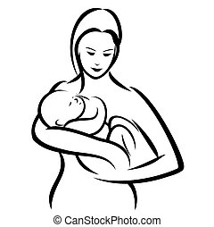 Mother and baby - Vector illustration : Mother and baby on a...
