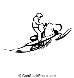 Snowmobiles - Vector illustration : Snowmobiles on a white...