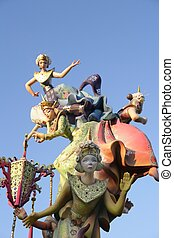 Fallas from Valencia, Spain celebration cartoon figures -...
