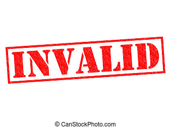 INVALID red Rubber Stamp over a white background.