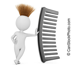 Hairy 3D man with comb isolated on white background