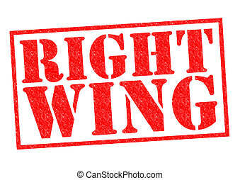 RIGHT WING red Rubber Stamp over a white background.