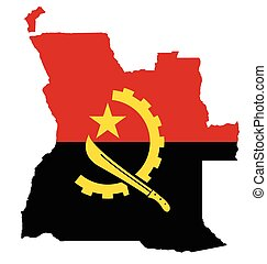 Angola Flag - Flag of the Republic of Angola overlaid on...