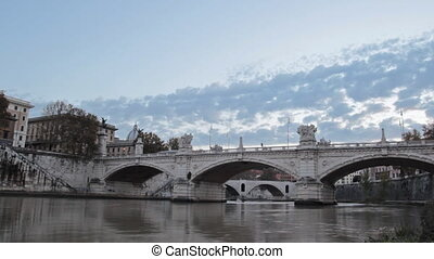 bridge in Rome - time lapse of the Vittorio Emanuele II...