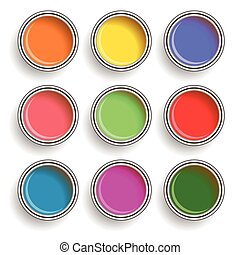 paint can color palette - colorful illustration with paint...